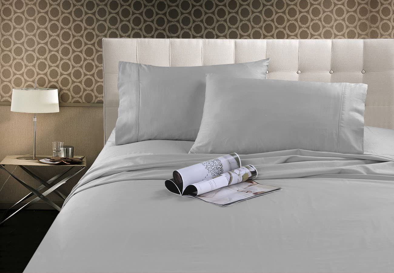 MARQUESS Bamboo Sheets- Rayon from Bamboo, 1500 Series Microfiber Sheet Set Fade Resistant & Durable, Hypoallergenic, Ultra Cozy &Premium, Quick Drying, 4-Piece Bedding Collection (Queen, Light Grey)