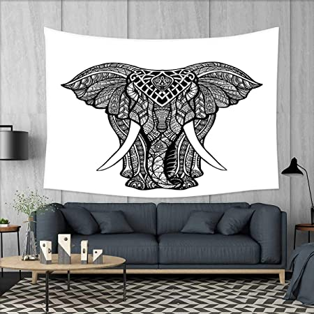 Colgante de pared de tapiz bohemio de elefante pequeño, impresión ...