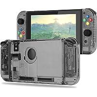 BASSTOP Set de carcasa de repuesto para consola Switch NS NX y control Switch Joy-con derecho/izquierdo sin electrónicos, hazlo tú mismo, Set-Smoke Black
