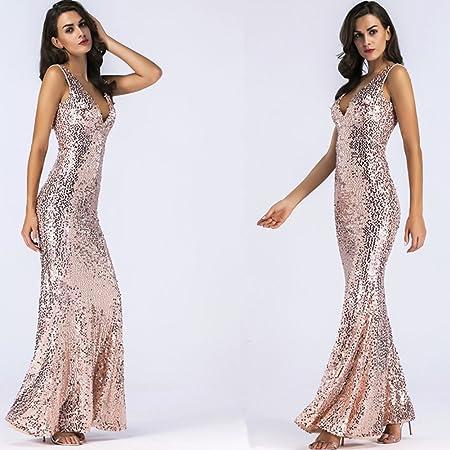 Womens Sequins V Collar Dress Get Together Fashionable Dew Back Long Skirt Evening Dress,Natural