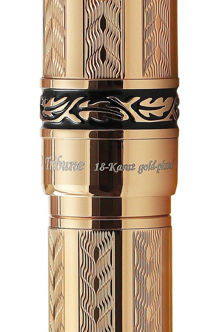 Xezo Diamond-Cut 18-Karat Gold Layered Weighty Fine Rollerball Pen. Screw-on cap (Tribune Gold RG) by Xezo (Image #6)