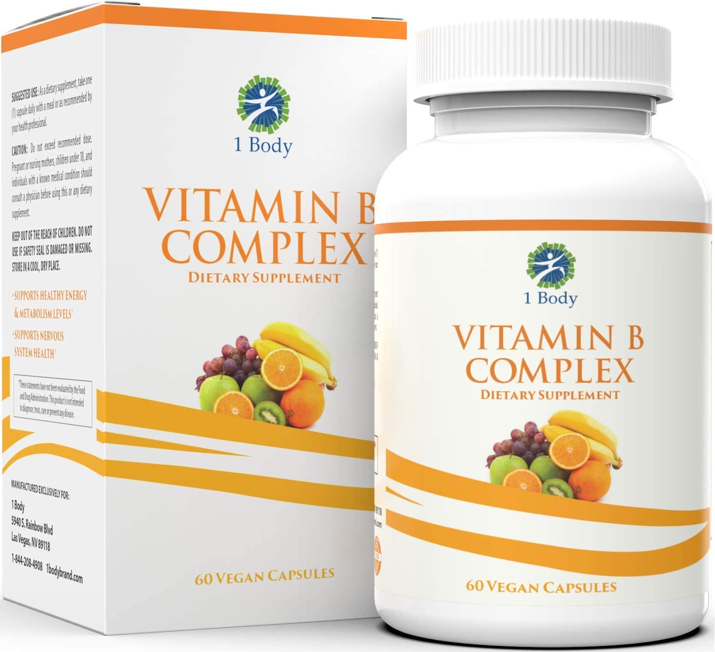 Vitamin B Complex – 5-MTHF Folate with B1, B2, B5, B6, Methyl B12, Niacin, Biotin – Wide Range of Benefits for Stress, Heart Health, Nervous System Support, Healthy Brain Function