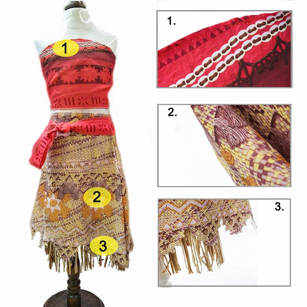 2 years RioRand Moana Girls Adventure Outfit Cosplay Costume Skirt Set with Necklace Flower/&Oar