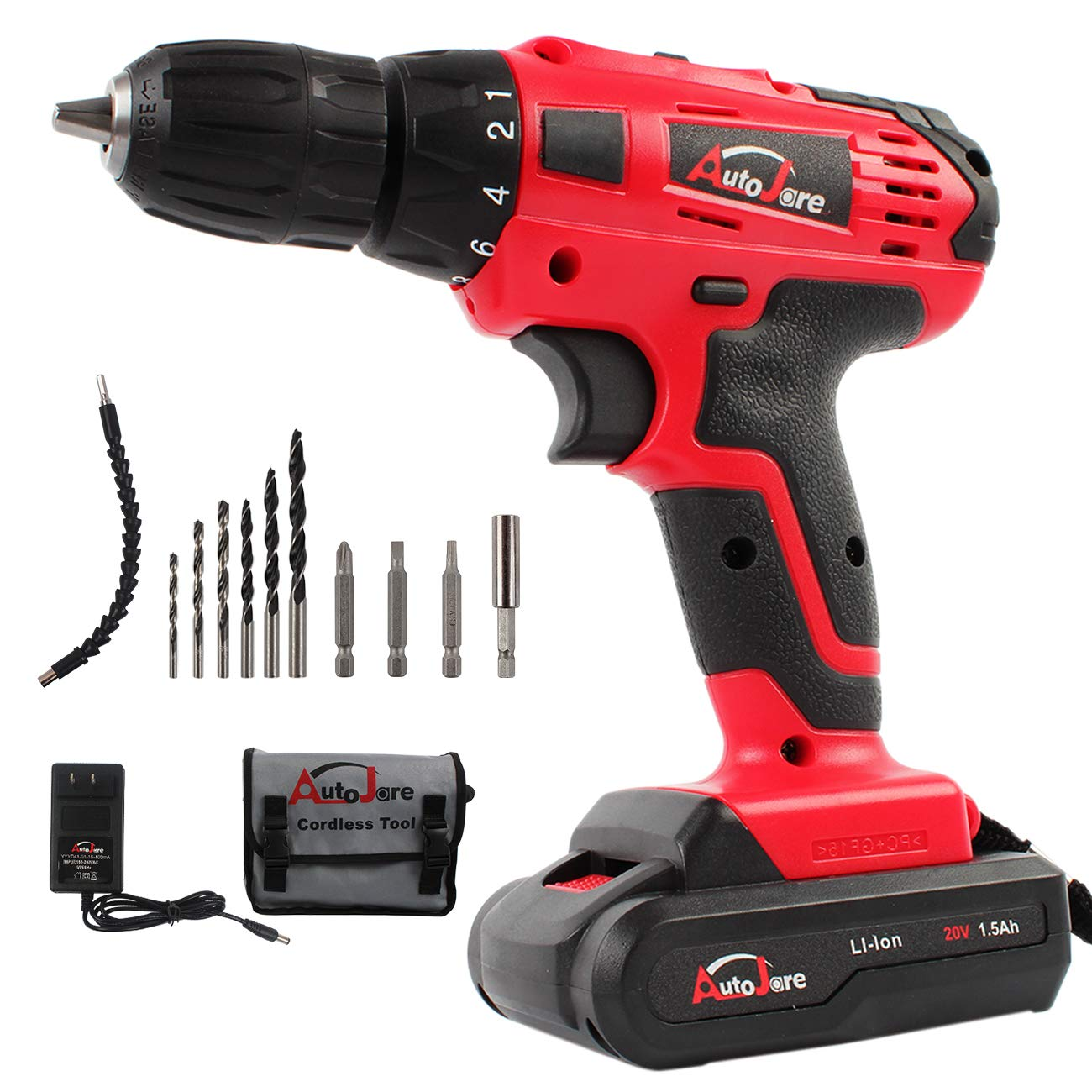 "20V Electric Cordless Drill - 3/8"" Keyless Chuck, Lightweight Cordless Drill,Rechargeable Lithium-Ion battery Drill/Driver,Durable&Fast Application Speeds Dirll kit by AUTOJARE"