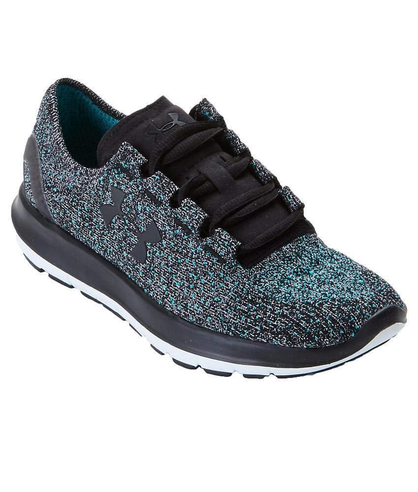 Under Armour Women's Speedform Slingride Tri Running Shoe, Overcast Gray/Glacier Gray/Marlin Blue B01CE5BW50 7 B(M) US|Black/Glacier Gray/Black