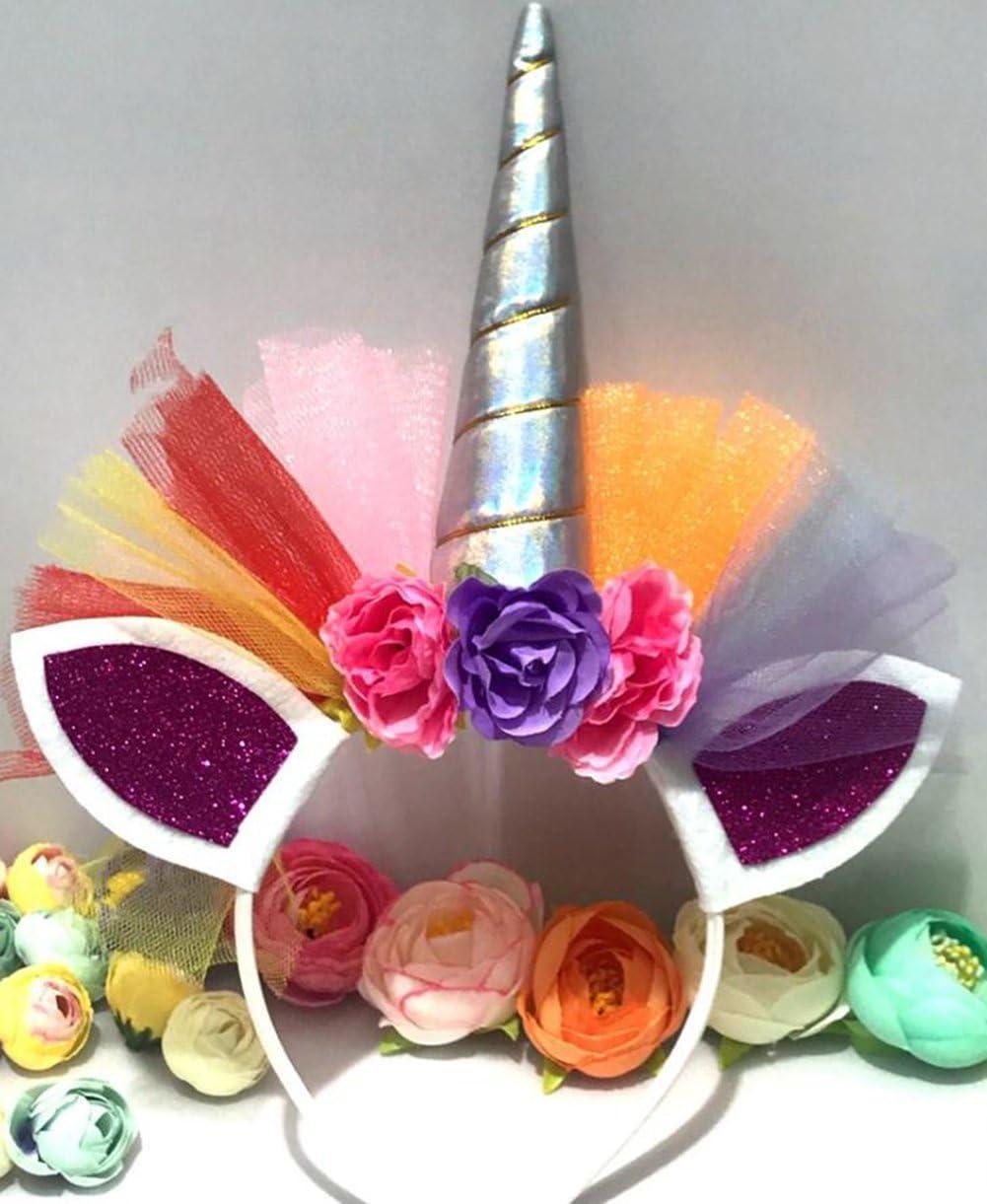 Qifumaer Licorne Corne Bandeau Cheveux Cosplay Costume pour Anniversaire C/él/ébration Party Festivals