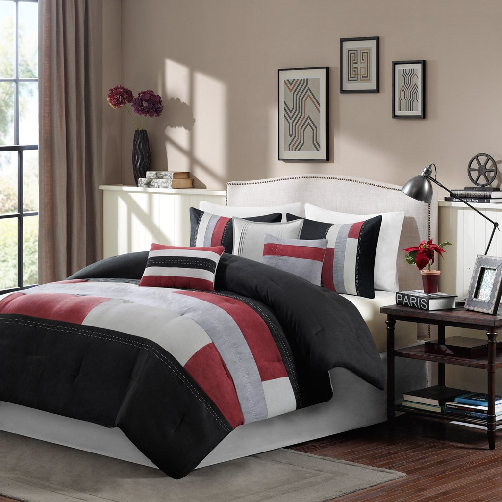 and source down com page comforter reversible superbeddings alternative red grey set bedding