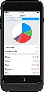 mophie spacepack with built-in 32GB storage for iPhone 6 Plus/6s Plus (2,600mAh) - Black