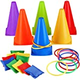 Eocolz 3 in 1 Carnival Games Set, Soft Plastic Cones Bean Bags Ring Toss Games for Kids Birthday Party Outdoor Games Supplies