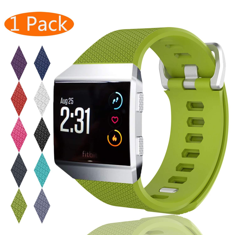 最終決算 Fitbit 2サイズ] Ionic帯、kingaccソフトアクセサリー交換バンドFitbit Green Ionic -、メタルバックルフィットネスリストバンドストラップレディースメンズ[ 2サイズ] Large Small [ 12色]ブラック、ホワイト、ローズ、グレー、ブルー B078PJ5BH8 C# 1-Pack Green Small(5.5