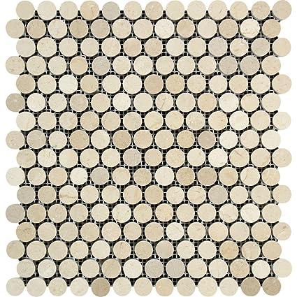 Amazoncom Spanish Crema Marfil Zara Polished Penny Round Mosaic