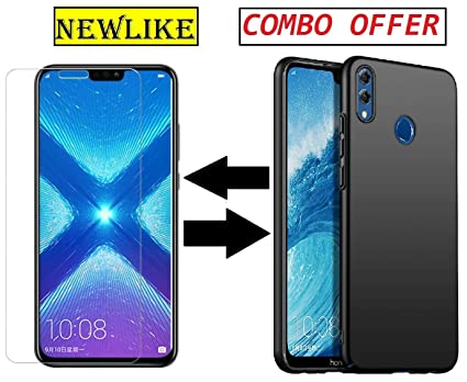 Newlike Huawei Honor 8X, Tempered Glass & Back Cover, [Combo Pudding]  Premium Real 2 5D 9H Anti-Fingerprints & Oil Stains Coating Hardness Screen