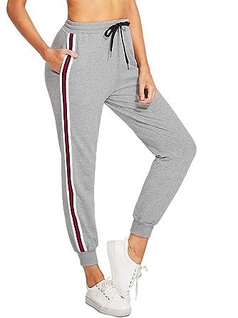 ec511002727740 piannao Damen Hosen Bund Jogginghose Sportswear Casual Streifen Sweathose  mit Taschen