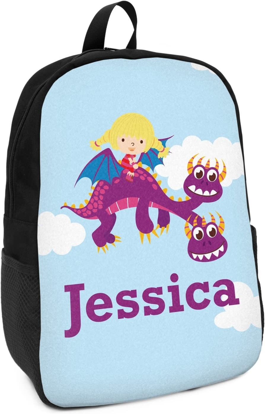 Girl Flying on a Dragon Kids Backpack Personalized