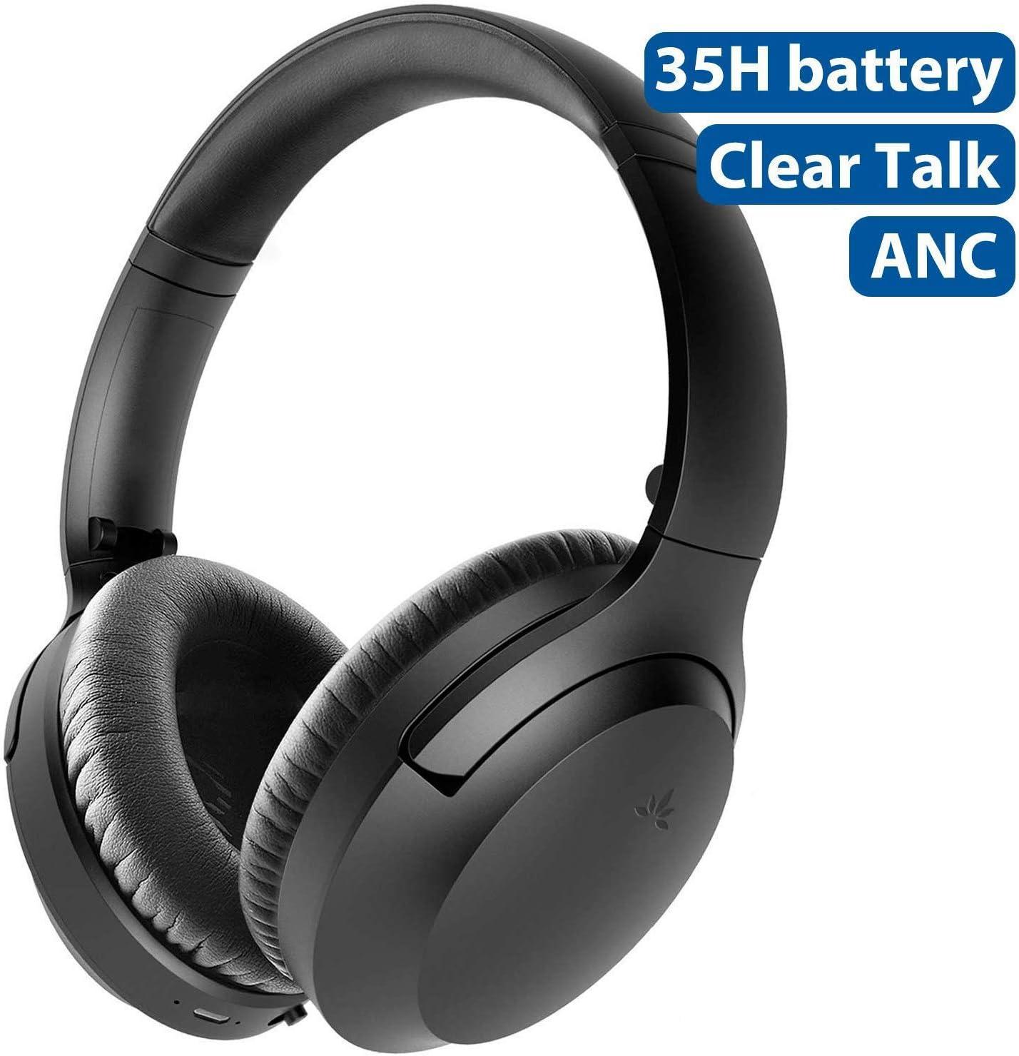 [2020] Avantree Aria Auriculares Bluetooth de Cancelación de Ruido Activo con Micrófono Extra Desmontable para llamadas, Buen Sonido, Almohadillas Anchas Reemplazables, 35H, Cableado e Inalámbrico ANC