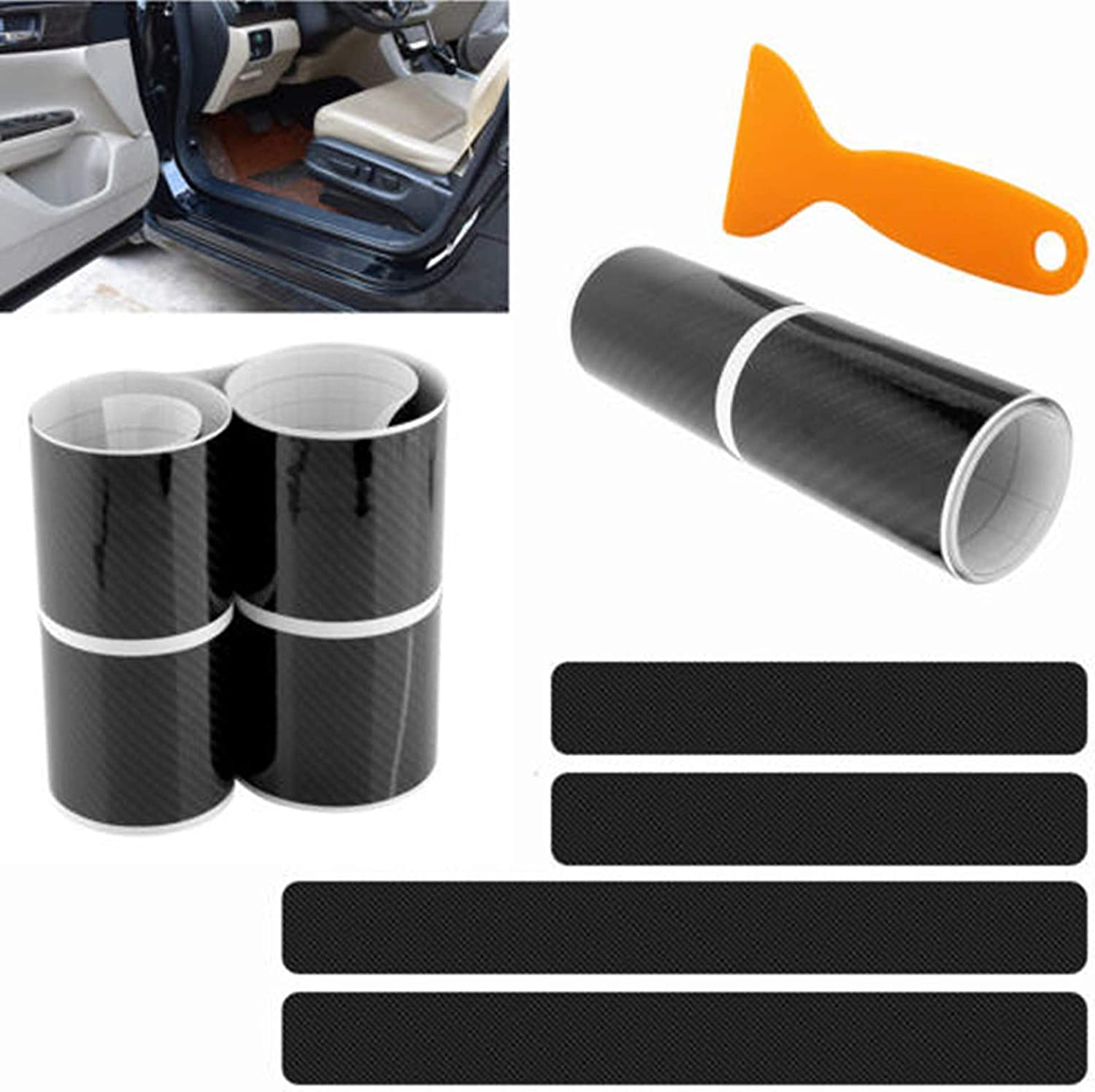 4X Kit 5D Carbon Fiber Stickers car Door Sill Scuff Welcome Pedal Protector Wrap