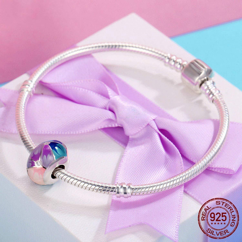 Evereena Silver Beads Bracelet for Girls Colorful Enamel Womens Jewelry