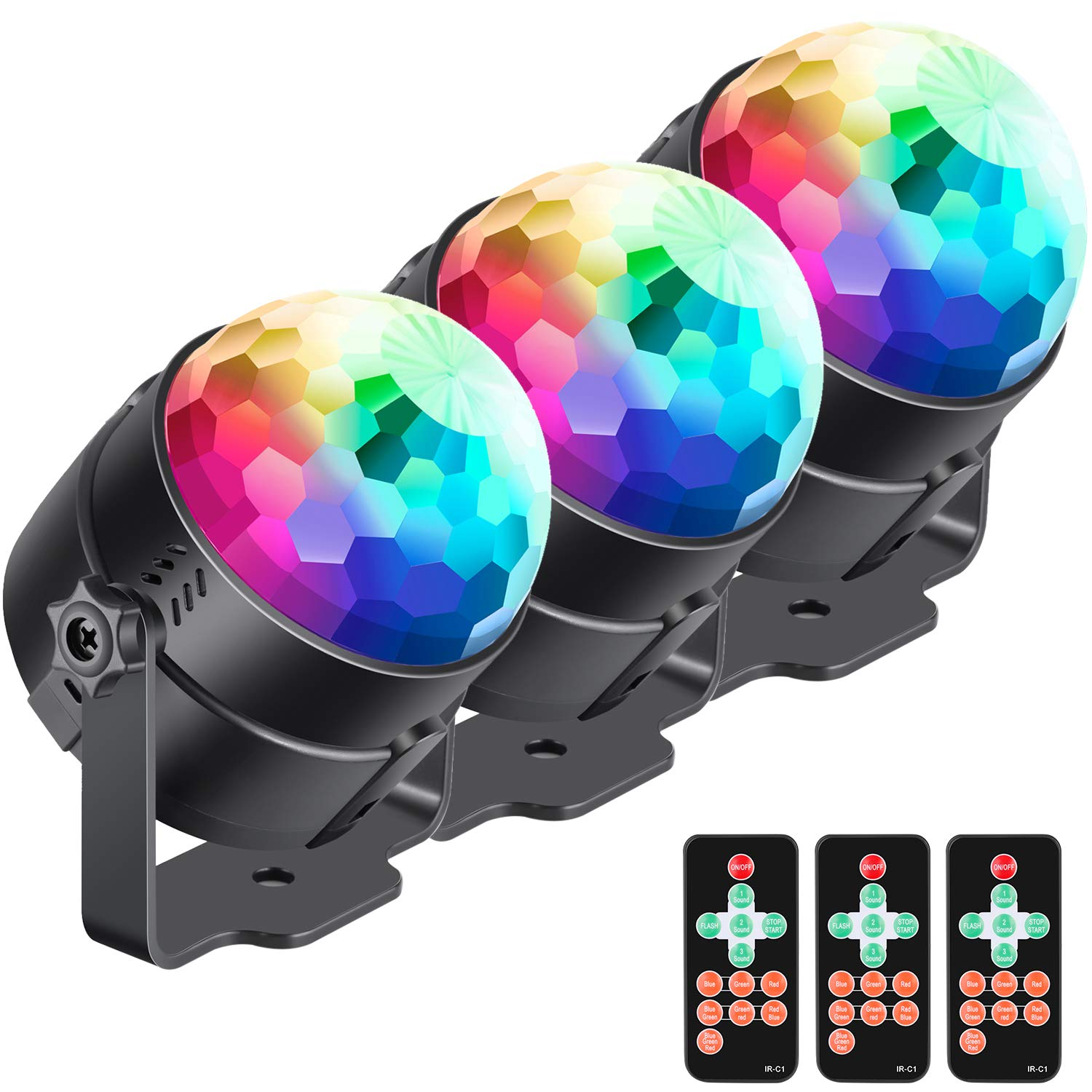 Neewer 3-Pack Stage Light Sound Activated Party Lights with Remote Control, Dj Lighting, RBG Disco Ball, 7 Modes Strobe Lamp for Home Room Dance Parties Birthday DJ Bar Karaoke Xmas Wedding Show Club by Neewer
