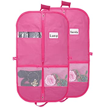 2b42bbffc337 Kernorv Pink Garment Bags for Dance Costumes Waterproof and Breathble 40