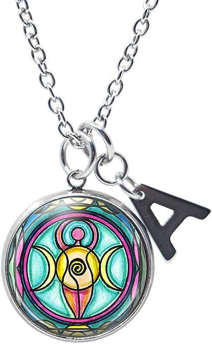 Art Triple Moon Glass Gem Cabochon Round Women Jewelry Necklace Gifts Pendants