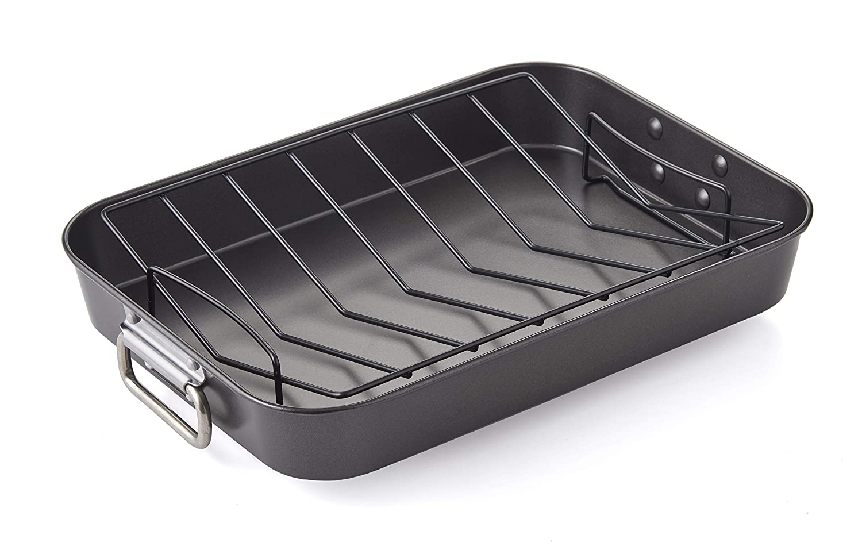 "Betty Crocker Professional Grade Non-Stick Turkey Roasting Pan 15.75"" x 11.5"" x 3"" Charcoal"