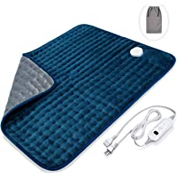 """Veken Electric Heating Pad with Fast-Heating Technology, Moist Dry Heat, Auto-Off and Machine Washable, XXL Ultra-Soft Heat Therapy Pad for Cramps/Back/Knee/Neck and Shoulders (20"""" x 24"""", Deep Blue)"""