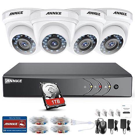 ANNKE Kit Sistema de Seguridad CCTV Cámara de vigilancia Luz de estrella 4CH 3MP H.264+ DVR con 4 Cámaras 1080P IP66 Impermeable Visión nocturna ...