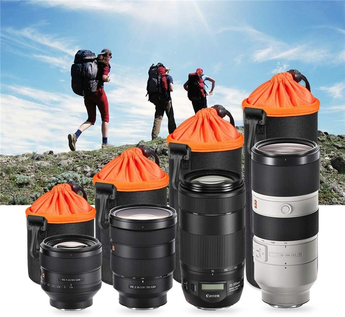 Height: 25cm Caofeng lens case Pouch Lens Case SLR Camera Lens Pouch Bag Micro Single Lens Bag Lens Inner Bile Bag Waterproof Protective Case Plus Velvet Thickening Orange Diameter: 10cm