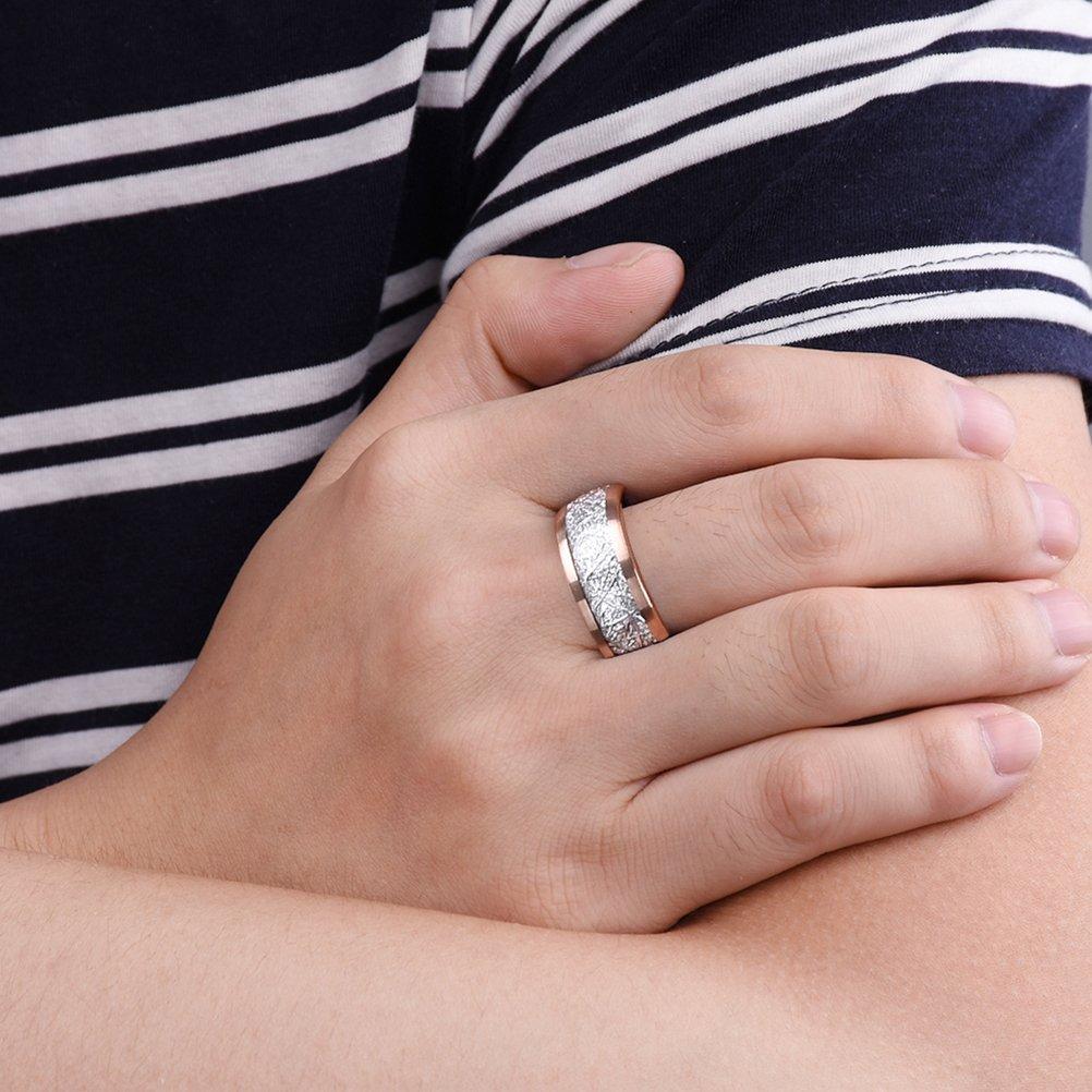 Three Keys 8mm Tungsten Wedding Ring for Men Domed Imitated ...