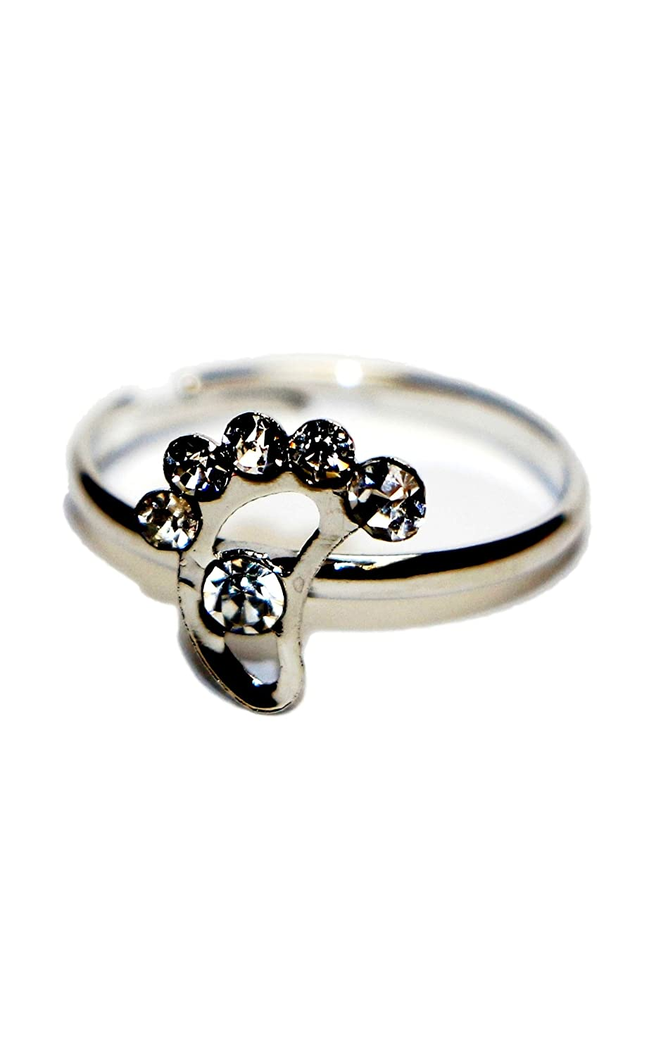 Jewels Fashion Surgical Stainless Steel Cubic Zirconia Adjustable Footprint Shape Hypoallergenic Toe Rings