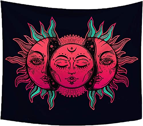 Sandeye Tapestry Wall Hanging Sun and Moon Many Fractal Faces Psychedelic Small Wall Tapestry with Art Chakra Home Decorations for Bedroom Dorm Decor Living Room