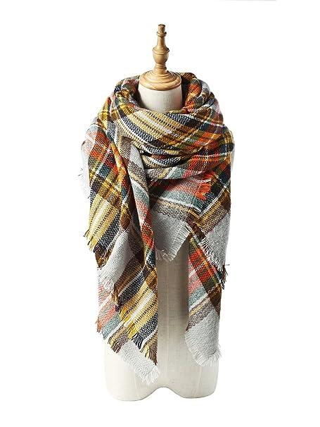 Spring Fever Stylish Warm Soft Plaid Fall Winter Fashion Cashmere ... 6fa695151