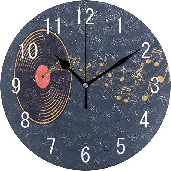 Imagen deUse7 - Reloj de Pared Redondo de acrílico con diseño de Notas Musicales Coloridas para decoración del hogar