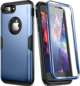 YOUMAKER Designed for iPhone 8 Plus Case & iPhone 7 Plus Case, Full Body Rugged with Built-in Screen Protector Heavy Duty Protection Slim Fit Shockproof Cover for iPhone 8 Plus (2017) 5.5 Inch - Blue
