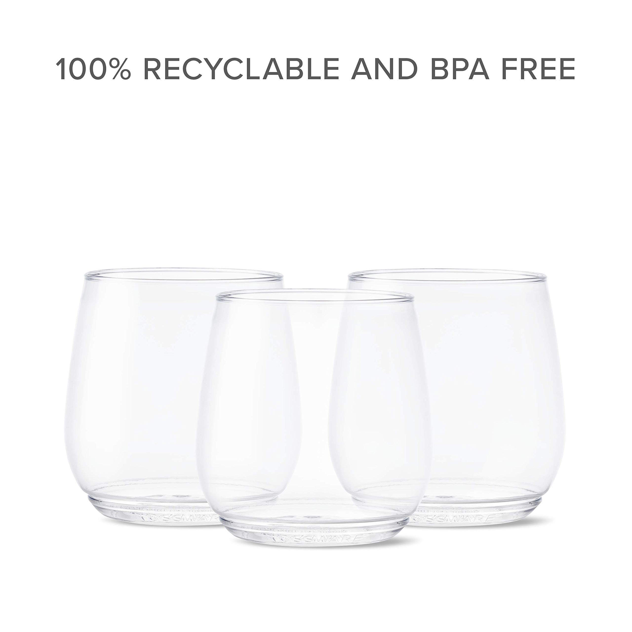 TOSSWARE 12oz Tumbler Jr - Set of 252 recyclable cocktail and whiskey plastic cup - stemless, shatterproof and BPA-free, Clear Glass by TOSSWARE (Image #7)