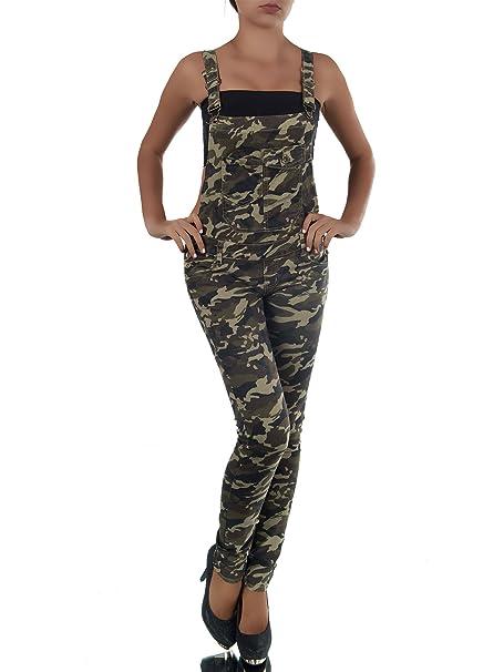 Diva-Jeans - Peto - Mono - Básico - para Mujer Camuflaje 40: Amazon ...