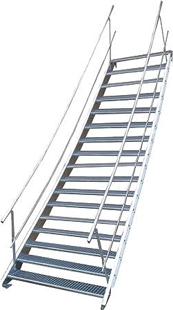 Escalera de acero industrial, escalera exterior, 17 peldaños, ancho 130 cm, altura de planta variable 282 – 350 cm, con barandilla de doble cara: Amazon.es: Bricolaje y herramientas