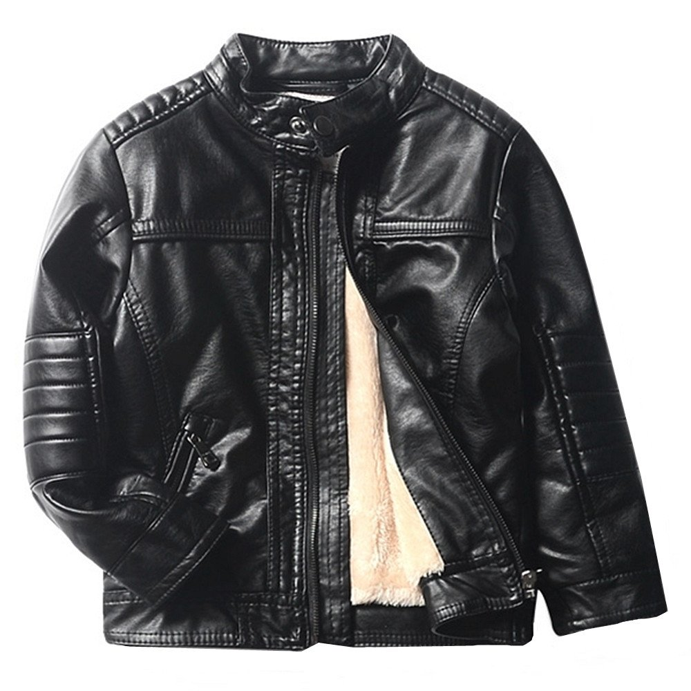 LJYH Toddle and Little Boys Winter Stand Collar PU Leather Motorcycle Jacket Black