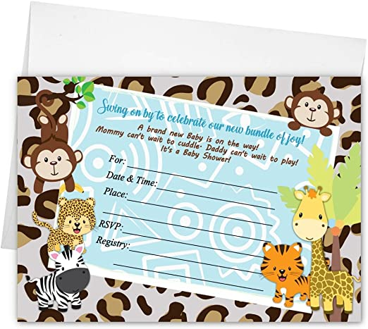 Baby Shower Invitations Jungle Tiger Lion Monkey Cards Printed Boy Girl Gender Neutral
