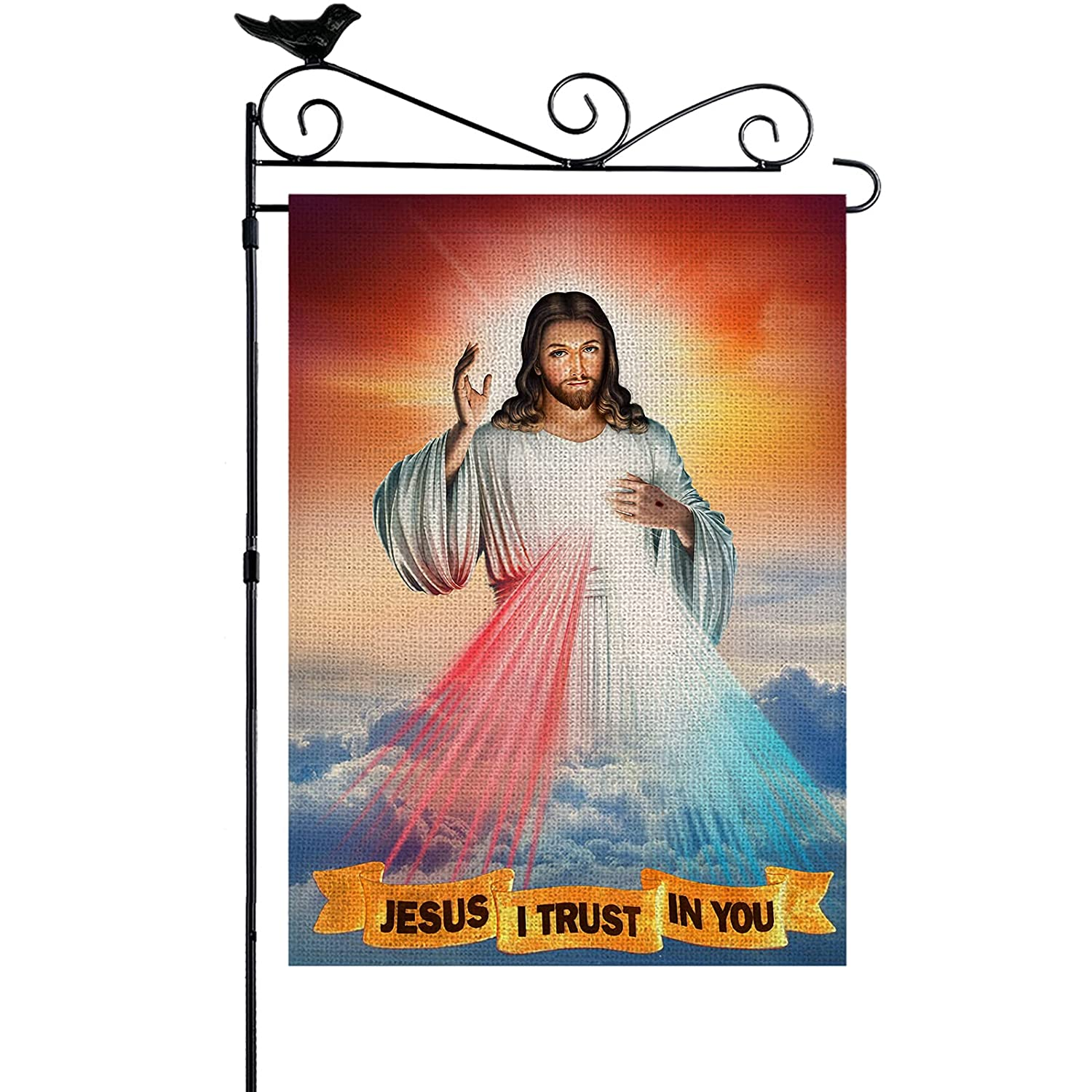 YISHOW Divine Mercy Of Jesus I Trust In You Garden Flag Double Sided Vertical House Banner Home Burlap Flags Welcome Yard Signs Outdoor Decor 12.5
