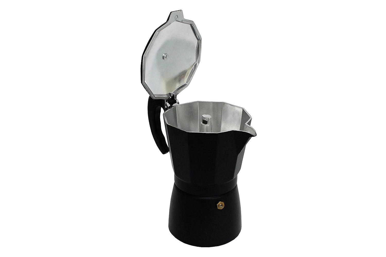 Aluminio Negro 18 x 10 x 10 cm Bcalpe Inducolor Cafetera 3//6 Tazas