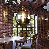 40W E27 Abat-jour Suspension Lampshade en Verre en Forme de Boule avec Câble pour Cuisine Chambre Restaurant Bar Café Industriel et Vintage Noir 25*28 cm