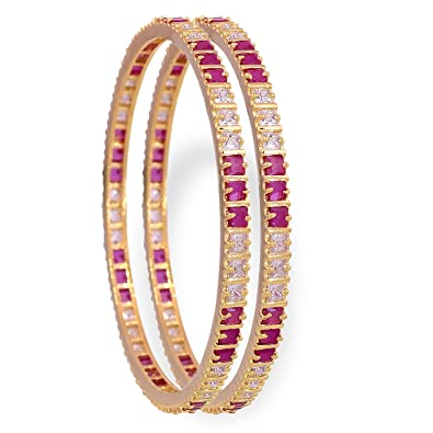 5cf02477daa Ratnavali jewels Beautiful CZ/AD Studded Gold Plated Traditional Red Ruby  White American Diamond Bangles Set for Women RV791: Amazon.in: Jewellery