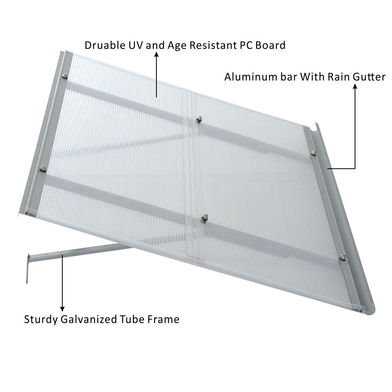 Outdoor Manual Patio 47''x 31'' Window Door Deck Awning Sunshade Shelter  Canopy