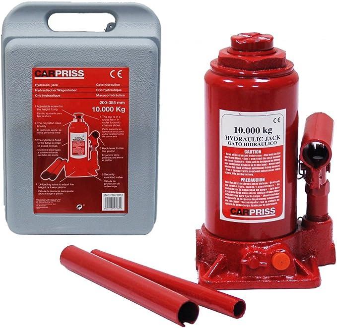 Carpriss 70677812 Gato Hidraulico Botella 10 T Tuv/GS C/Maletin: Amazon.es: Coche y moto