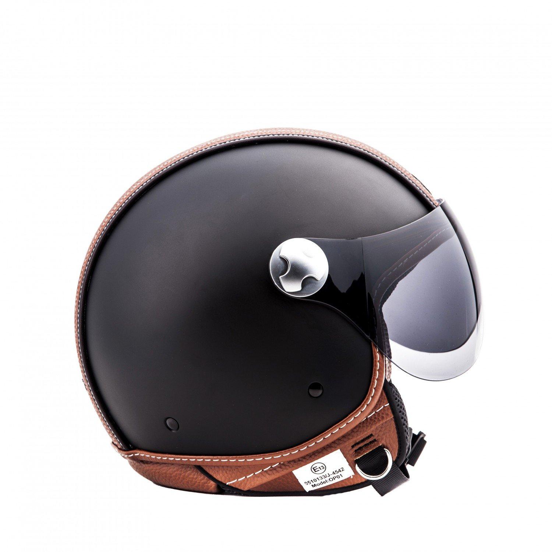 "Armor · AV-84 ""Vintage Deluxe"" · Casco moto Demi Jet · Scooter Urbano motocicleta Helmet Urban Retro · ECE certificado · Visor · Click-n-Secure™ Clip ..."