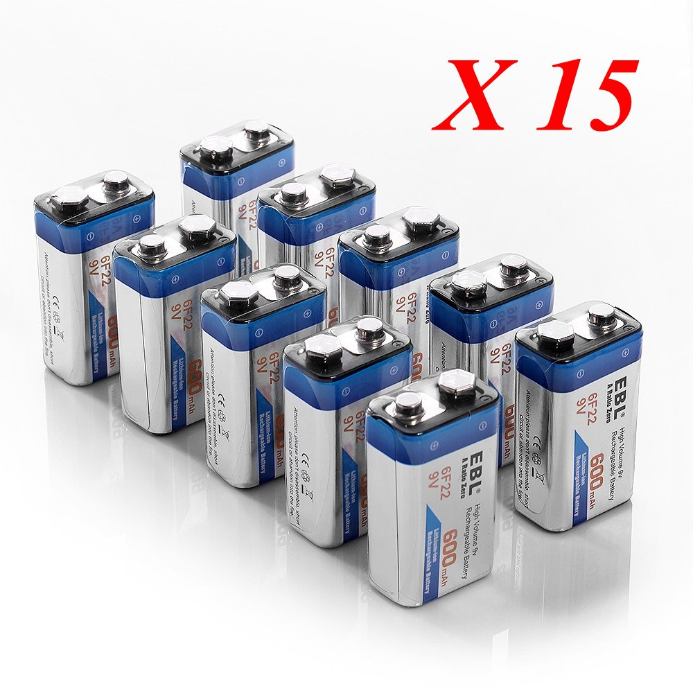 EBL 600mAh Rechargeable 9V Batteries Lithium-ion, 150 Pack by EBL (Image #1)