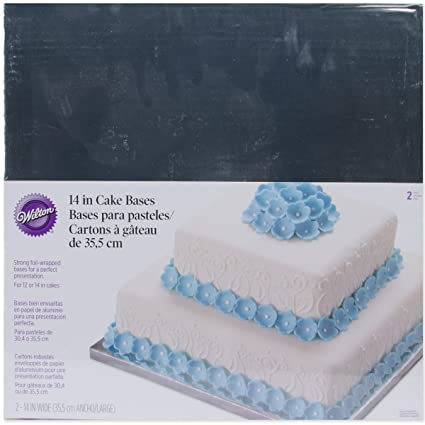 Wilton Silver Foiled 14-Inch Wrapped Bases for Cakes, 2 Count