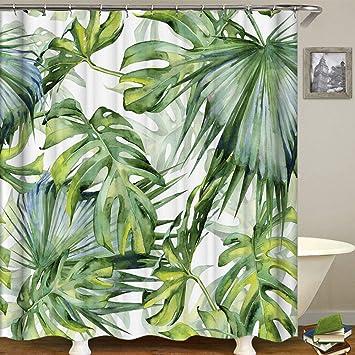 E-Bestar Rideau de Douche Jungle Tropical Paume Plant Rideaux de Douche  Originaux Anti Moisissure Vert Tissu avec 12 Crochets (180cm *180cm)