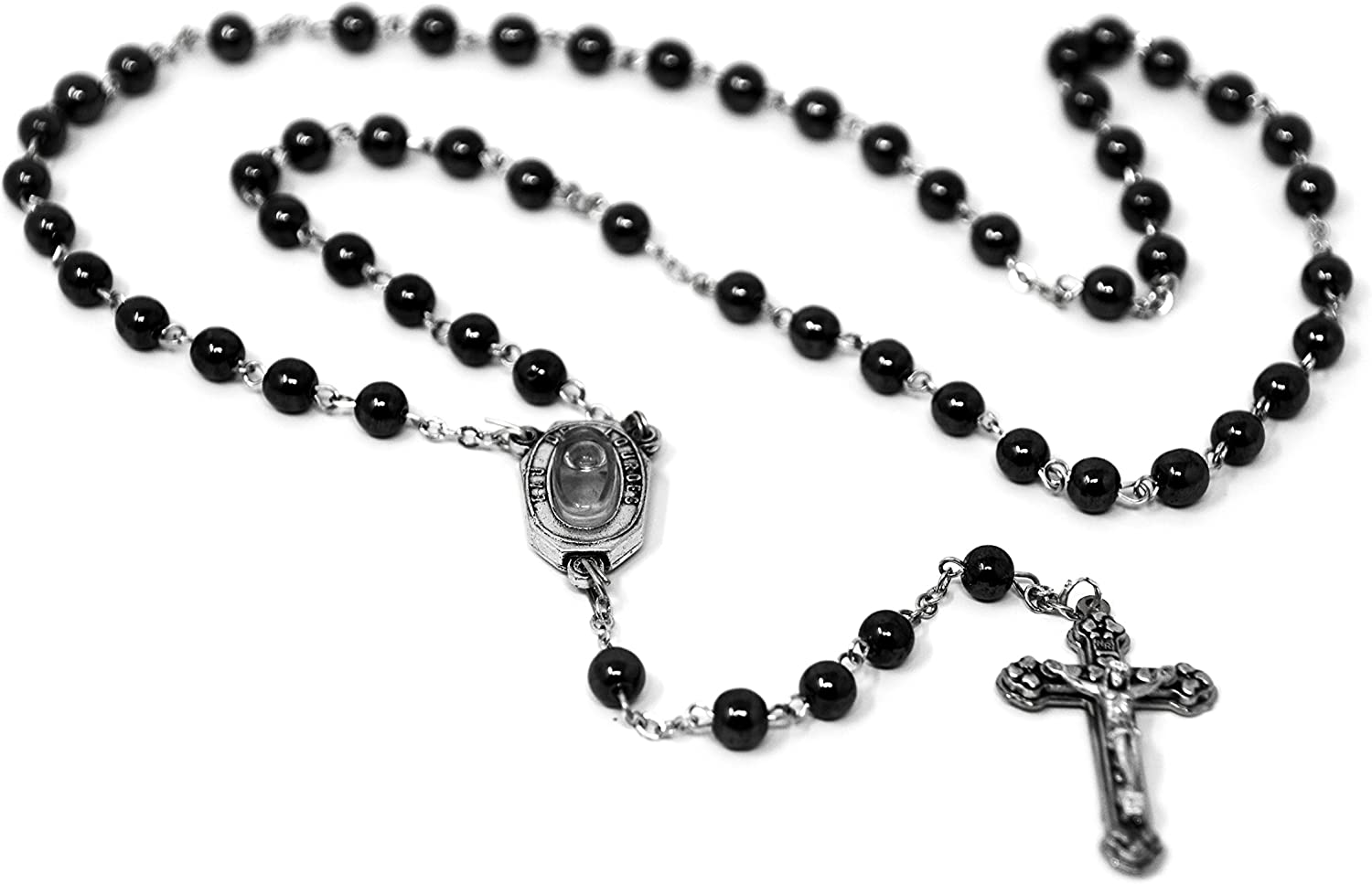 GIFTS FROM LOURDES Crystal Apparition Rosary Beads with a Virgin Mary Centre
